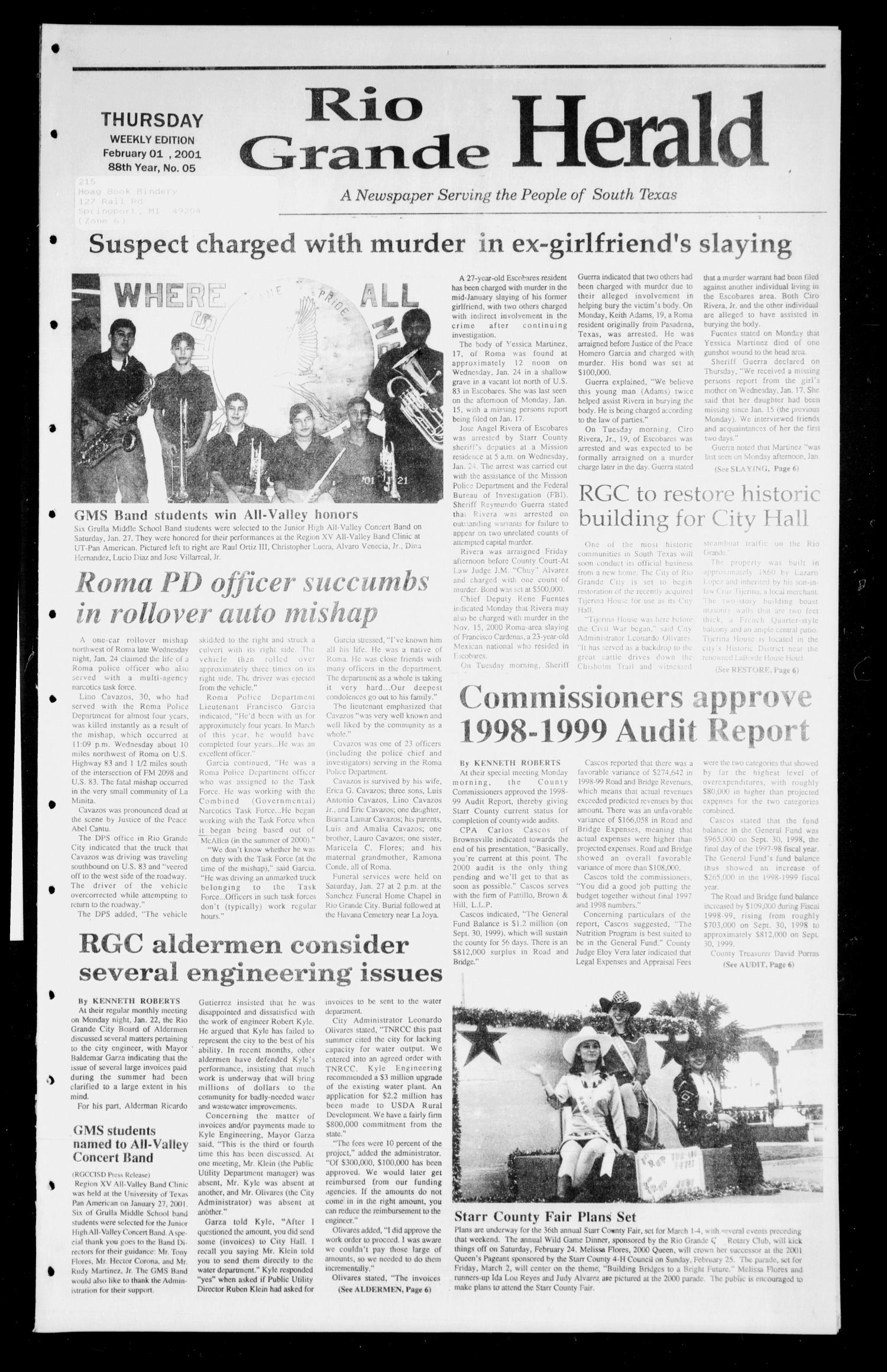 Rio Grande Herald (Rio Grande City, Tex.), Vol. 88, No. 5, Ed. 1 Thursday, February 1, 2001                                                                                                      [Sequence #]: 1 of 6