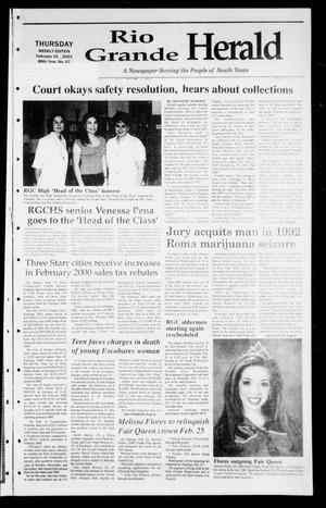Primary view of object titled 'Rio Grande Herald (Rio Grande City, Tex.), Vol. 88, No. 7, Ed. 1 Thursday, February 15, 2001'.