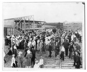 Primary view of object titled '[Crowd assemblng for cornerstone ceremony, West Texas State Normal College]'.