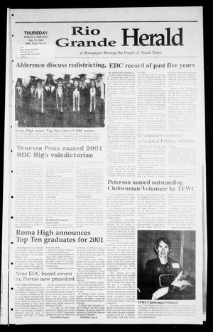 Primary view of object titled 'Rio Grande Herald (Rio Grande City, Tex.), Vol. 88, No. 22, Ed. 1 Thursday, May 31, 2001'.