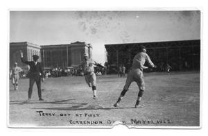 Primary view of object titled 'Terry out at first, Clarendon game, May 12, 1922'.