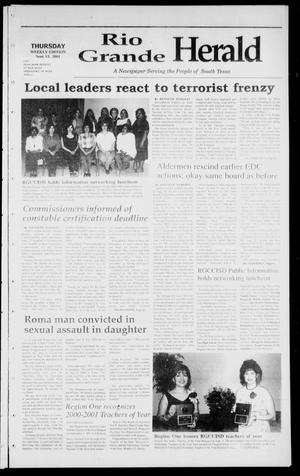 Primary view of object titled 'Rio Grande Herald (Rio Grande City, Tex.), Vol. 88, No. 35, Ed. 1 Thursday, September 13, 2001'.