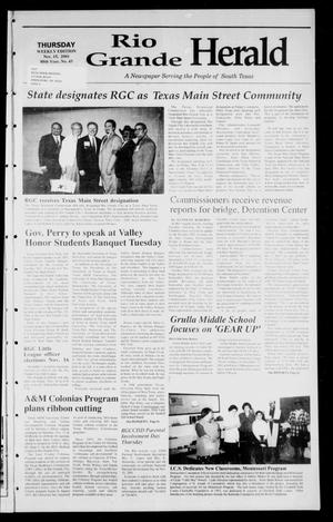 Primary view of object titled 'Rio Grande Herald (Rio Grande City, Tex.), Vol. 88, No. 43, Ed. 1 Thursday, November 15, 2001'.