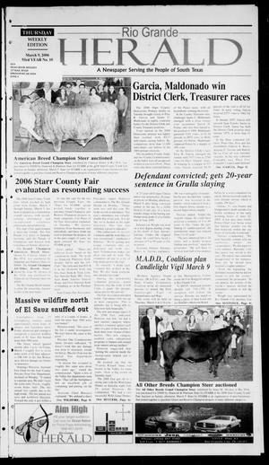 Primary view of object titled 'Rio Grande Herald (Rio Grande City, Tex.), Vol. 93, No. 10, Ed. 1 Thursday, March 9, 2006'.