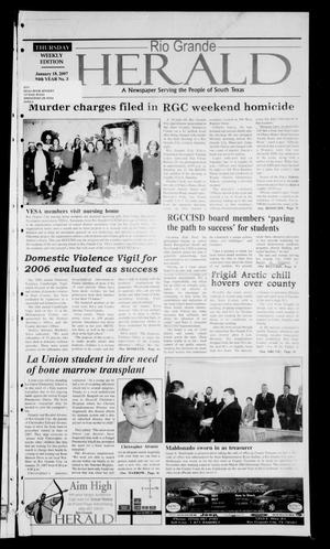 Primary view of object titled 'Rio Grande Herald (Rio Grande City, Tex.), Vol. 94, No. 3, Ed. 1 Thursday, January 18, 2007'.