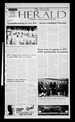 Primary view of object titled 'Rio Grande Herald (Rio Grande City, Tex.), Vol. 94, No. 17, Ed. 1 Thursday, May 3, 2007'.
