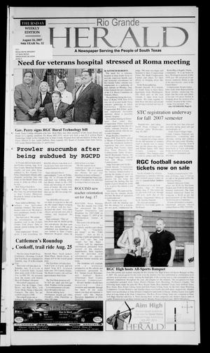 Primary view of object titled 'Rio Grande Herald (Rio Grande City, Tex.), Vol. 94, No. 32, Ed. 1 Thursday, August 16, 2007'.