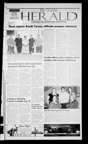 Primary view of object titled 'Rio Grande Herald (Rio Grande City, Tex.), Vol. 94, No. 33, Ed. 1 Thursday, August 23, 2007'.