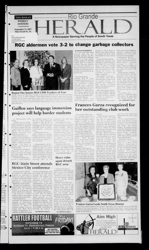 Primary view of object titled 'Rio Grande Herald (Rio Grande City, Tex.), Vol. 94, No. 36, Ed. 1 Thursday, September 13, 2007'.