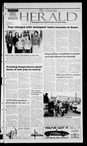Primary view of object titled 'Rio Grande Herald (Rio Grande City, Tex.), Vol. 95, No. 2, Ed. 1 Thursday, January 10, 2008'.