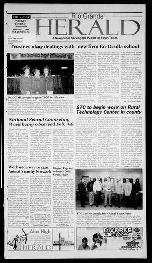 Primary view of object titled 'Rio Grande Herald (Rio Grande City, Tex.), Vol. 95, No. 6, Ed. 1 Thursday, February 7, 2008'.