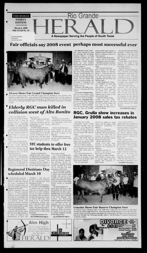 Primary view of object titled 'Rio Grande Herald (Rio Grande City, Tex.), Vol. 95, No. 10, Ed. 1 Thursday, March 6, 2008'.