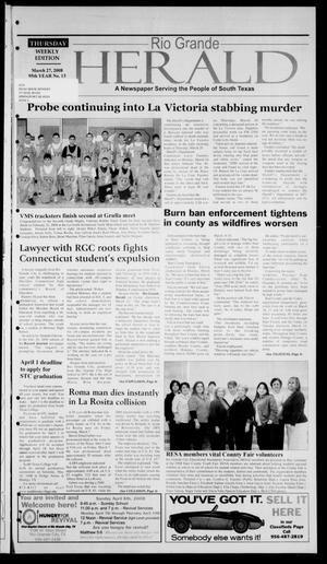 Primary view of object titled 'Rio Grande Herald (Rio Grande City, Tex.), Vol. 95, No. 13, Ed. 1 Thursday, March 27, 2008'.
