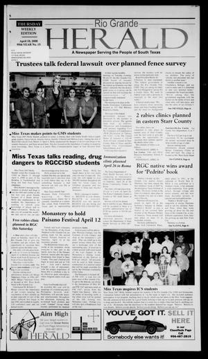 Primary view of object titled 'Rio Grande Herald (Rio Grande City, Tex.), Vol. 95, No. 15, Ed. 1 Thursday, April 10, 2008'.