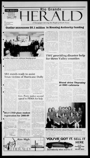 Primary view of object titled 'Rio Grande Herald (Rio Grande City, Tex.), Vol. 95, No. 32, Ed. 1 Thursday, August 7, 2008'.