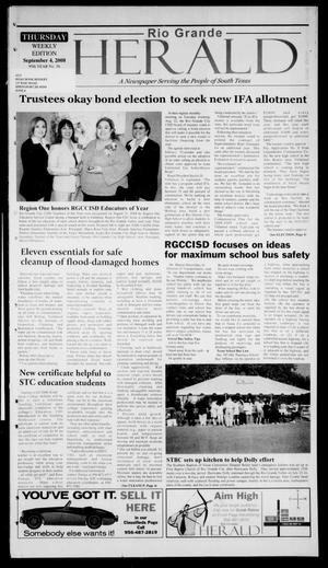 Primary view of object titled 'Rio Grande Herald (Rio Grande City, Tex.), Vol. 95, No. 36, Ed. 1 Thursday, September 4, 2008'.