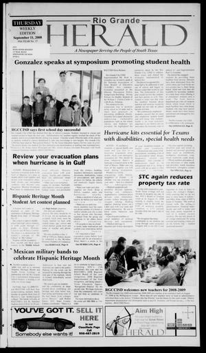 Primary view of object titled 'Rio Grande Herald (Rio Grande City, Tex.), Vol. 95, No. 37, Ed. 1 Thursday, September 11, 2008'.