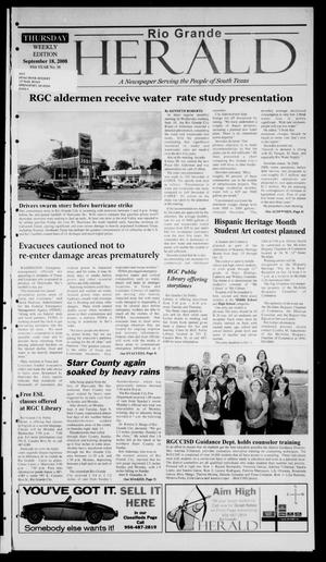 Primary view of object titled 'Rio Grande Herald (Rio Grande City, Tex.), Vol. 95, No. 38, Ed. 1 Thursday, September 18, 2008'.