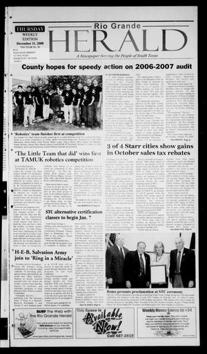 Primary view of object titled 'Rio Grande Herald (Rio Grande City, Tex.), Vol. 95, No. 50, Ed. 1 Thursday, December 11, 2008'.