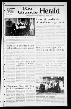 Primary view of object titled 'Rio Grande Herald (Rio Grande City, Tex.), Vol. 89, No. 13, Ed. 1 Thursday, March 28, 2002'.