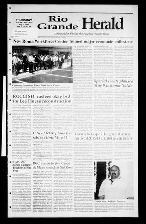 Primary view of object titled 'Rio Grande Herald (Rio Grande City, Tex.), Vol. 89, No. 18, Ed. 1 Thursday, May 2, 2002'.