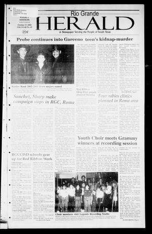 Primary view of object titled 'Rio Grande Herald (Rio Grande City, Tex.), Vol. 89, No. 42, Ed. 1 Thursday, October 17, 2002'.