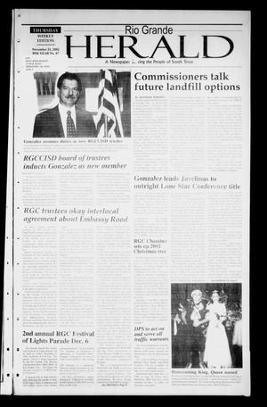 Primary view of object titled 'Rio Grande Herald (Rio Grande City, Tex.), Vol. 89, No. 47, Ed. 1 Thursday, November 21, 2002'.