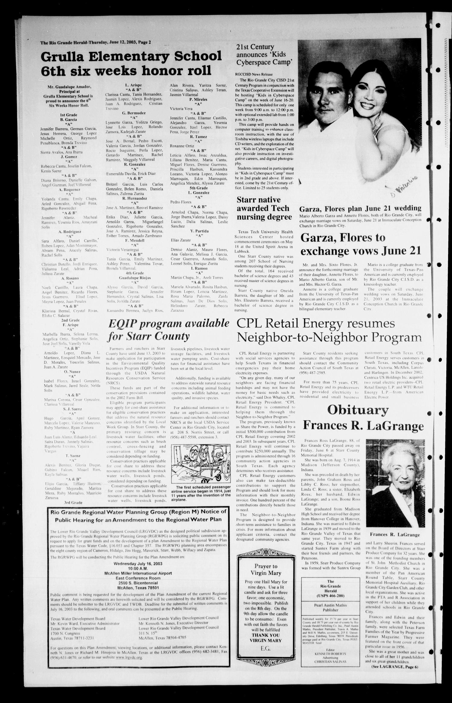 Rio Grande Herald Rio Grande City Tex Vol 90 No 24 Ed 1 Thursday June 12 2003 Page 2 Of 6 The Portal To Texas History