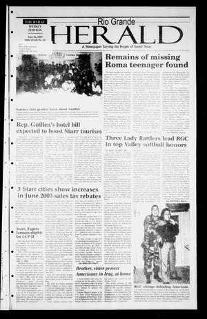 Primary view of object titled 'Rio Grande Herald (Rio Grande City, Tex.), Vol. 90, No. 26, Ed. 1 Thursday, June 26, 2003'.