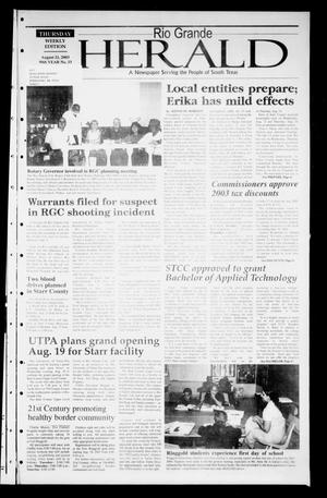 Primary view of object titled 'Rio Grande Herald (Rio Grande City, Tex.), Vol. 90, No. 33, Ed. 1 Thursday, August 21, 2003'.