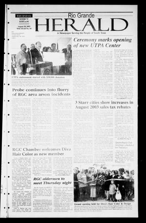 Primary view of object titled 'Rio Grande Herald (Rio Grande City, Tex.), Vol. 90, No. 34, Ed. 1 Thursday, August 28, 2003'.