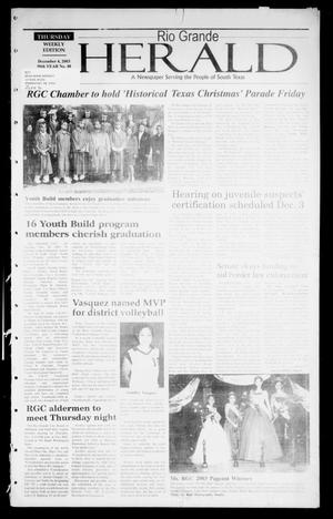 Primary view of object titled 'Rio Grande Herald (Rio Grande City, Tex.), Vol. 90, No. 48, Ed. 1 Thursday, December 4, 2003'.