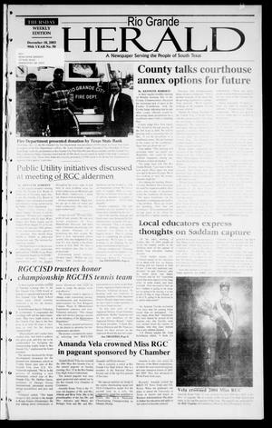 Rio Grande Herald (Rio Grande City, Tex.), Vol. 90, No. 50, Ed. 1 Thursday, December 18, 2003