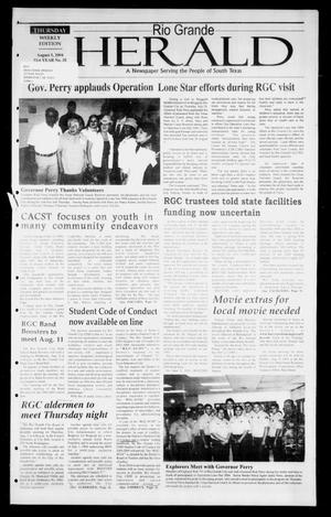 Primary view of object titled 'Rio Grande Herald (Rio Grande City, Tex.), Vol. 91, No. 32, Ed. 1 Thursday, August 5, 2004'.