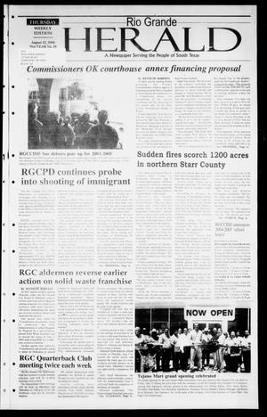 Primary view of object titled 'Rio Grande Herald (Rio Grande City, Tex.), Vol. 91, No. 33, Ed. 1 Thursday, August 12, 2004'.
