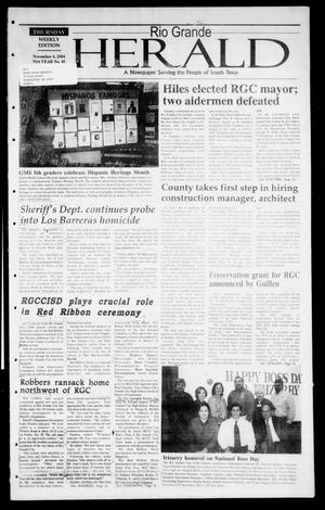 Primary view of object titled 'Rio Grande Herald (Rio Grande City, Tex.), Vol. 91, No. 45, Ed. 1 Thursday, November 4, 2004'.