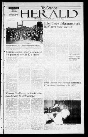 Primary view of object titled 'Rio Grande Herald (Rio Grande City, Tex.), Vol. 91, No. 47, Ed. 1 Thursday, November 18, 2004'.