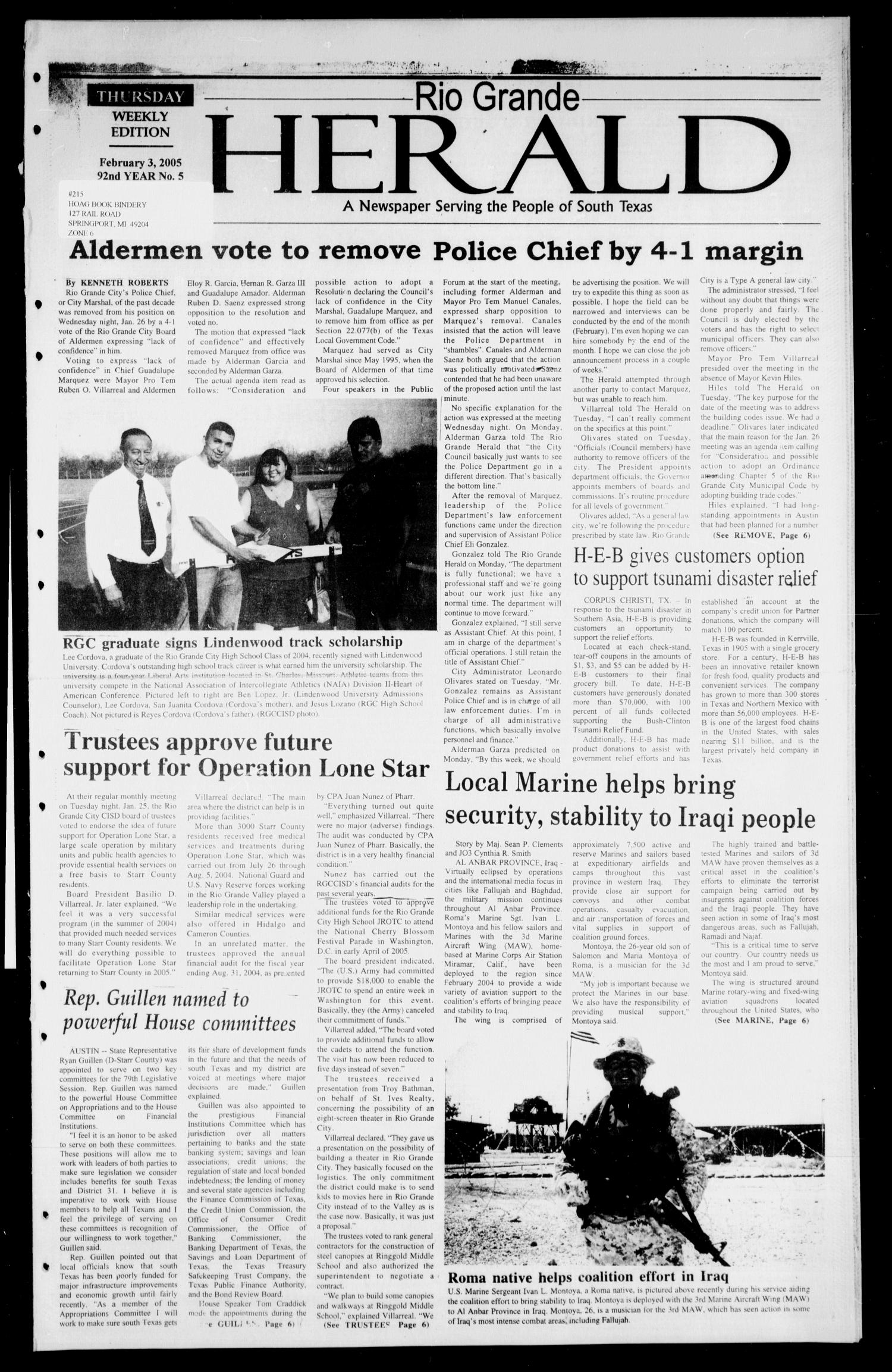 Rio Grande Herald (Rio Grande City, Tex.), Vol. 92, No. 5, Ed. 1 Thursday, February 3, 2005                                                                                                      [Sequence #]: 1 of 6