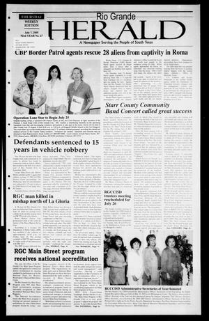 Primary view of object titled 'Rio Grande Herald (Rio Grande City, Tex.), Vol. 92, No. 27, Ed. 1 Thursday, July 7, 2005'.