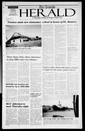 Primary view of object titled 'Rio Grande Herald (Rio Grande City, Tex.), Vol. 92, No. 31, Ed. 1 Thursday, August 4, 2005'.