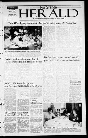 Primary view of object titled 'Rio Grande Herald (Rio Grande City, Tex.), Vol. 92, No. 33, Ed. 1 Thursday, August 18, 2005'.