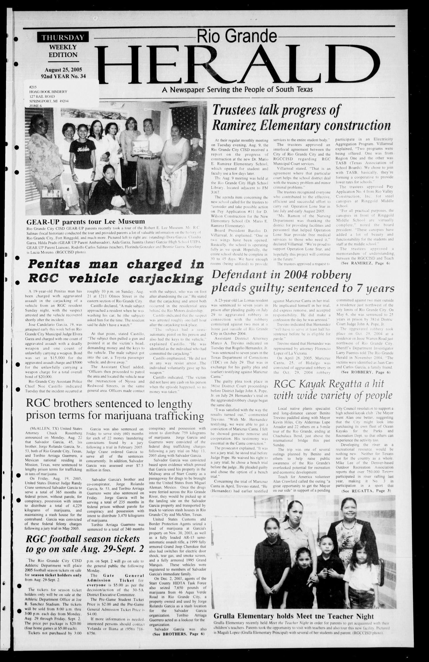 Rio Grande Herald (Rio Grande City, Tex.), Vol. 92, No. 34, Ed. 1 Thursday, August 25, 2005                                                                                                      [Sequence #]: 1 of 6
