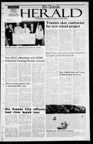Primary view of object titled 'Rio Grande Herald (Rio Grande City, Tex.), Vol. 92, No. 36, Ed. 1 Thursday, September 8, 2005'.