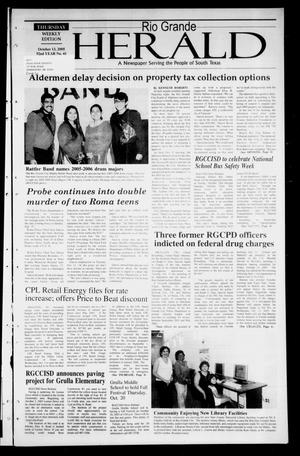 Primary view of object titled 'Rio Grande Herald (Rio Grande City, Tex.), Vol. 92, No. 41, Ed. 1 Thursday, October 13, 2005'.