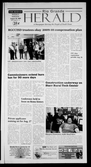 Primary view of object titled 'Rio Grande Herald (Rio Grande City, Tex.), Vol. 96, No. 33, Ed. 1 Thursday, August 20, 2009'.