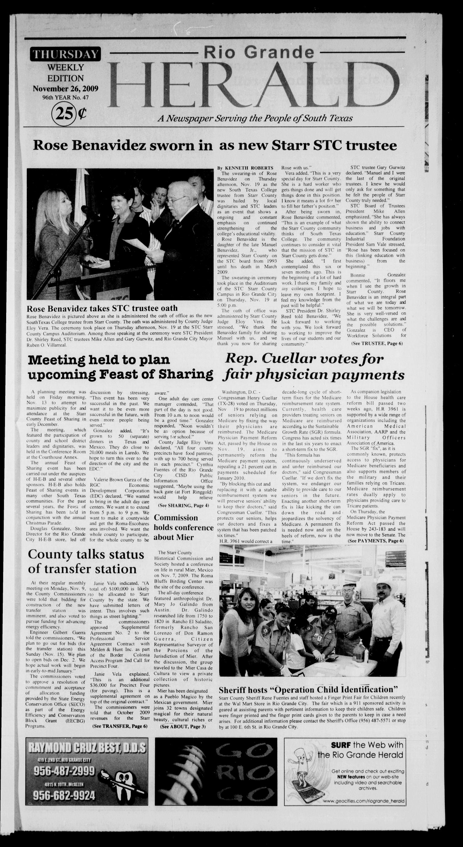 Rio Grande Herald (Rio Grande City, Tex.), Vol. 96, No. 47, Ed. 1 Thursday, November 26, 2009                                                                                                      [Sequence #]: 1 of 6