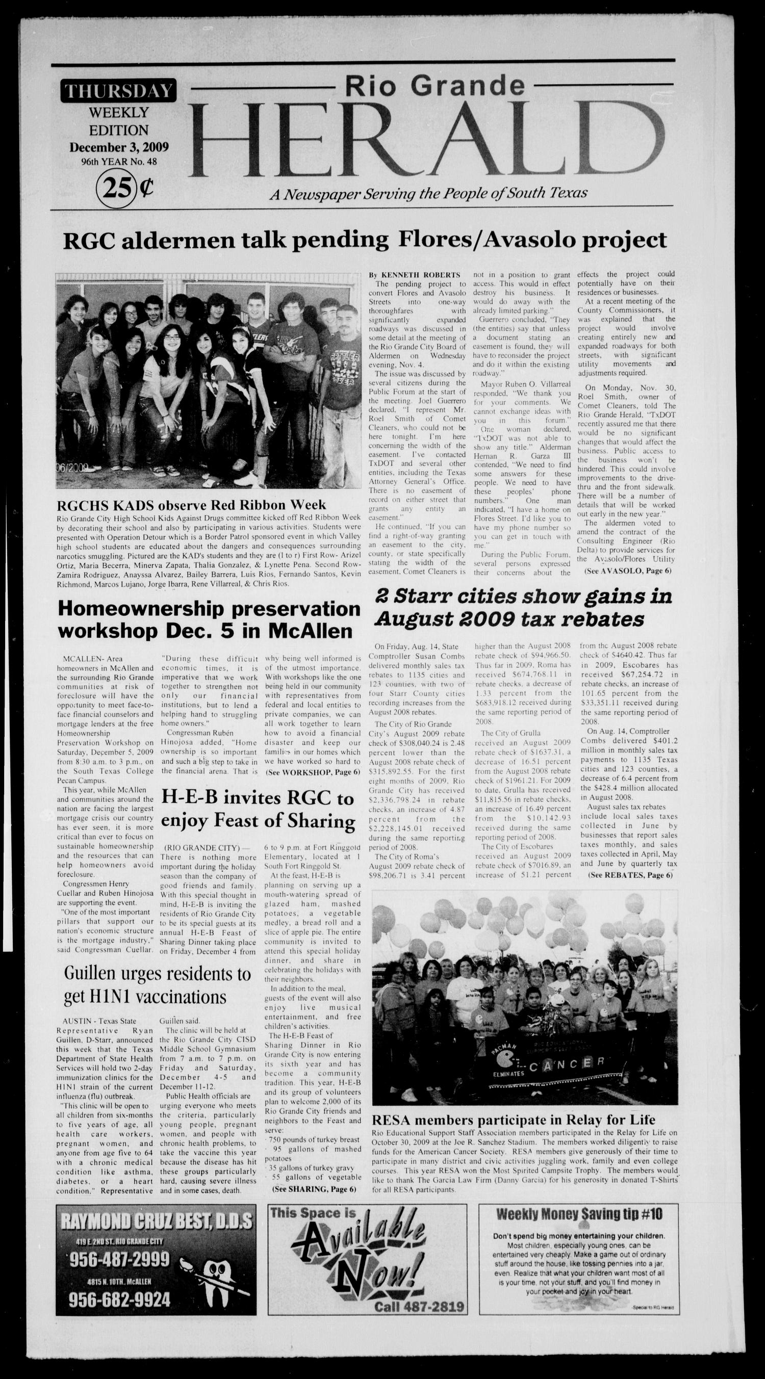 Rio Grande Herald (Rio Grande City, Tex.), Vol. 96, No. 48, Ed. 1 Thursday, December 3, 2009                                                                                                      [Sequence #]: 1 of 6