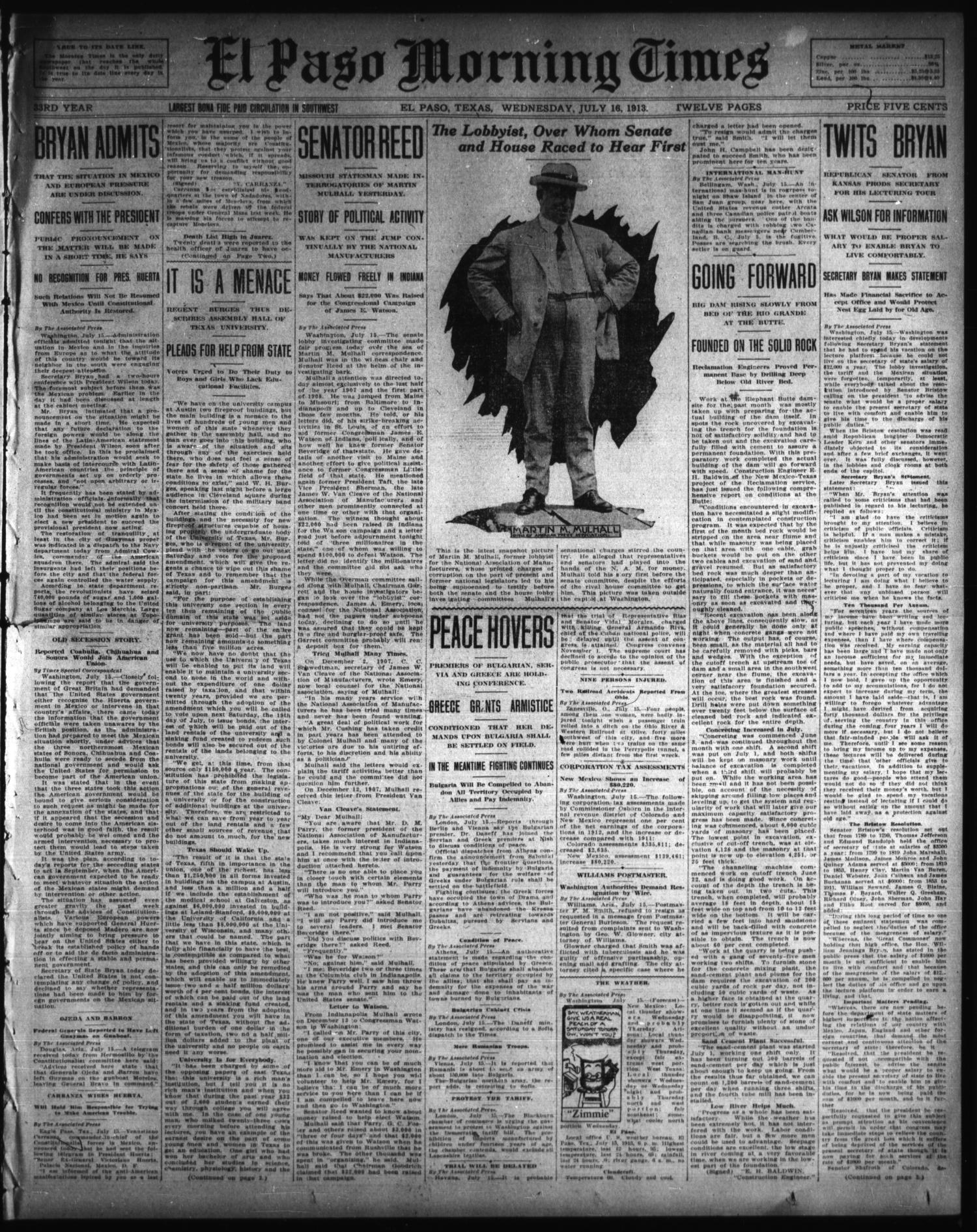El Paso Morning Times (El Paso, Tex.), Vol. 33RD YEAR, Ed. 1, Wednesday, July 16, 1913                                                                                                      [Sequence #]: 1 of 12