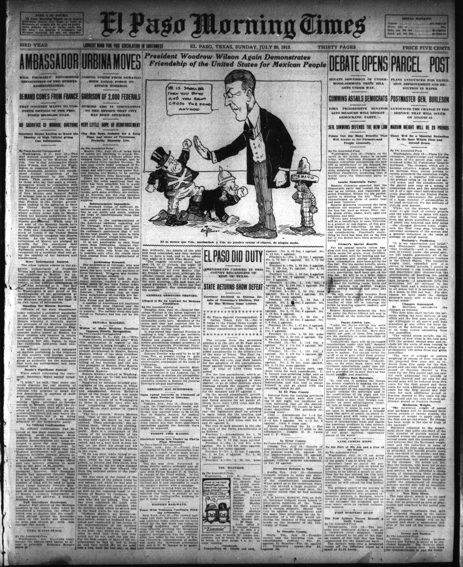 El Paso Morning Times (El Paso, Tex.), Vol. 33RD YEAR, Ed. 1, Sunday, July 20, 1913                                                                                                      [Sequence #]: 1 of 32