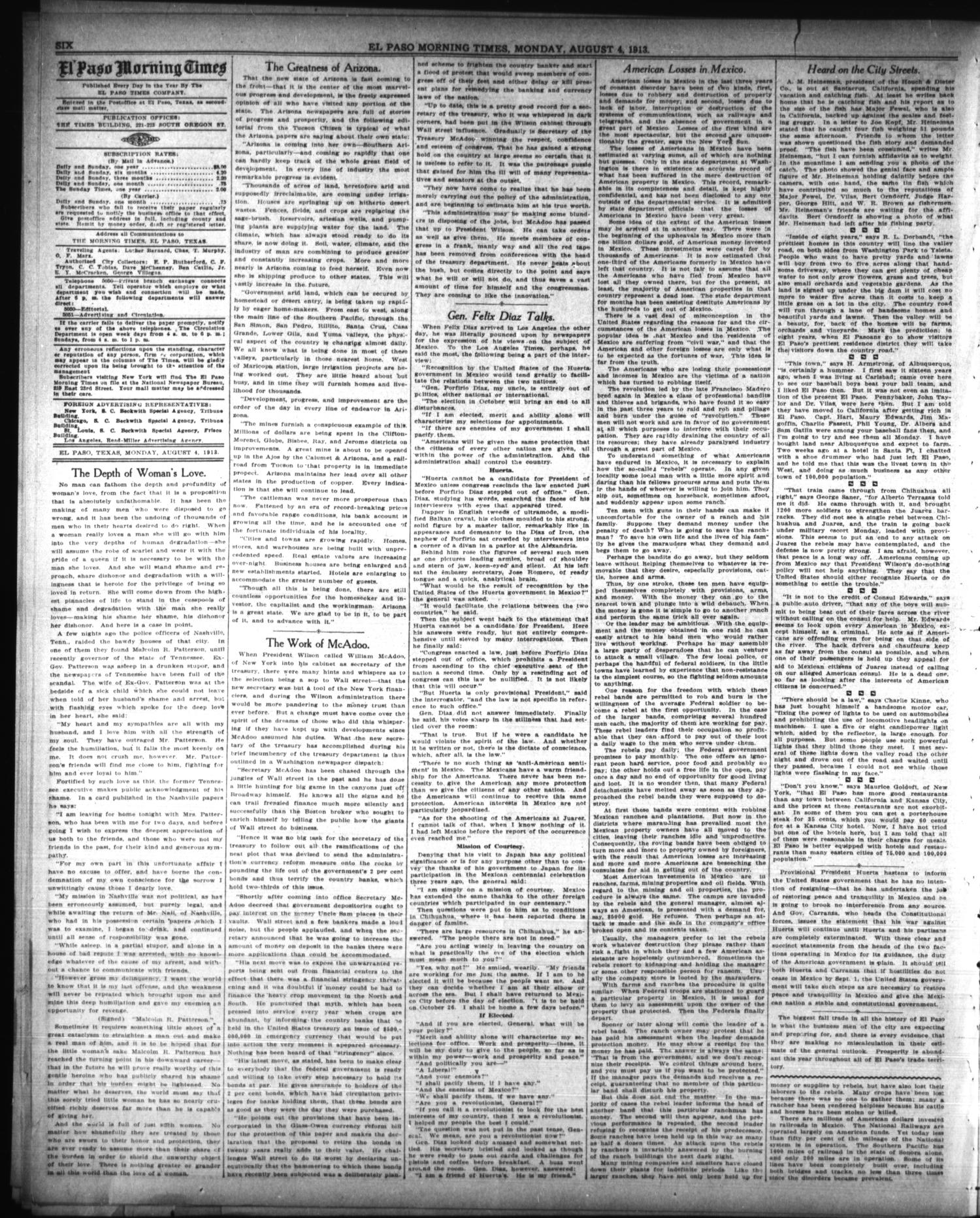 El Paso Morning Times (El Paso, Tex.), Vol. 33RD YEAR, Ed. 1, Monday, August 4, 1913                                                                                                      [Sequence #]: 6 of 12